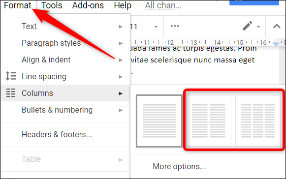 How to make two columns in google docs